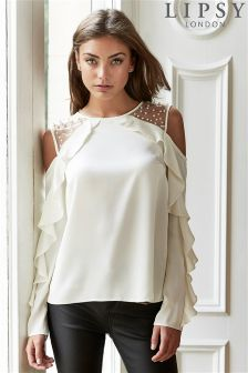 Lipsy Pearl Ruffle Cold Shoulder Blouse