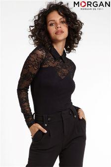 Кружевная блузка с высокой горловиной Morgan