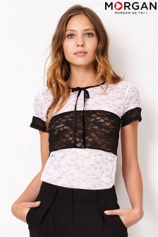 Morgan High Neck Lace Blouse