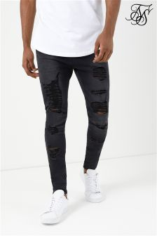 SikSilk Raw Edge Drop Crotch Jeans