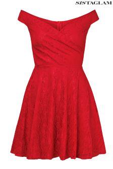 Sistaglam All Over Lace Off Shoulder Skater Dress