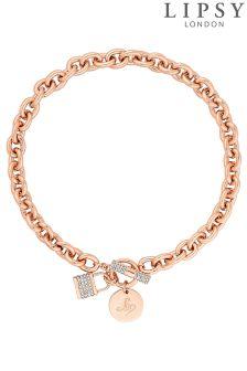 Lipsy Pave Crystal Padlock Chain Necklace