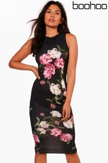 Boohoo Floral Fitted Midi Dress