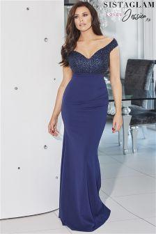 Jessica Wright Off Shoulder Embellished Maxi Dress