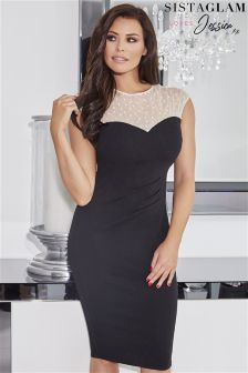 Jessica Wright Pearl Mesh Neckline Bodycon Dress