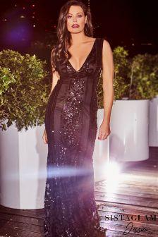 Платье макси с отделкой и глубоким V-образным вырезом Jessica Wright VIP