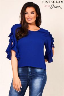 Jessica Wright Frilled Sleeve Box Blouse