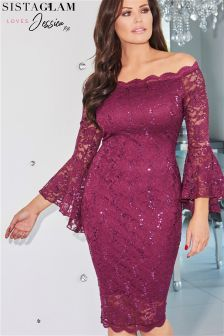 Jessica Wright Bardot Lace Bodycon Dress With Fluted Sleeve