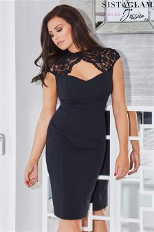 Jessica Wright Keyhole Lace Placement With Bodycon Stretch Skirt