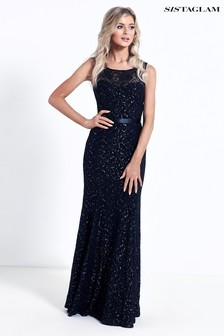 Sistaglam Lace And Glitter Maxi Dress