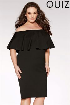 Quiz Curve Bardot Frill Hem Dress