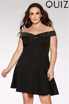 Quiz Curve Pearl Embellished Skater Dress