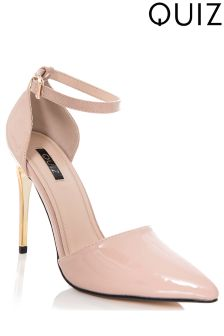Quiz Nude Patent Ankle Strap Pointed Court