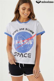 Missimo Ladies Ringer T-Shirt And Sports Short PJ Set