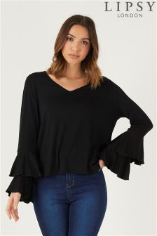 Lipsy V neck Fluted Sleeve Top