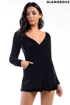 Glamorous Petite Velvet Long Sleeved Playsuit