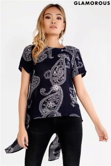 Glamorous Curve Printed Split Back Top