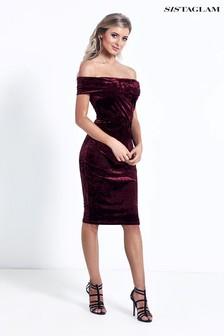 فستان ضيق مخملي بكتف مكشوف من Sistaglam