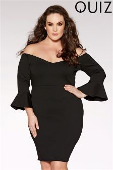 Quiz Curve Bardot 3/4 Frill Sleeve Midi Dress