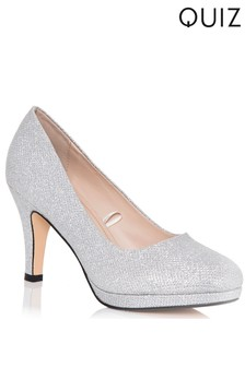 Quiz Shimmer Mid Heel Courts