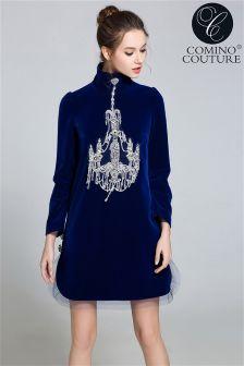 Comino Couture Velvet Swing Chandelier Dress
