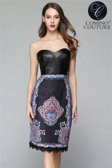 Comino Couture Bandeau Jacquard Midi Pencil Dress