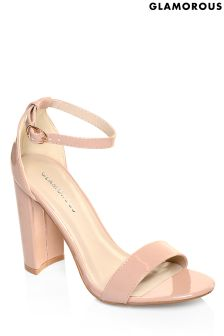 Glamorous Patent Barely There Block Heel Sandals