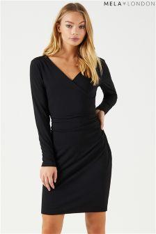 فستان ضيق ملفوف بكم طويل من Mela London