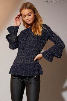 Sweter z podwójnymi rozszerzanymi rękawami Mela London