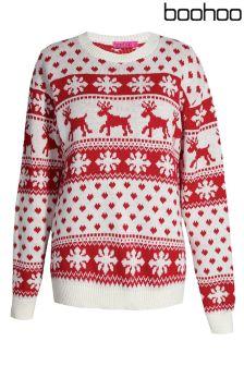Boohoo Hollie Reindeers Snowflake Christmas Jumper