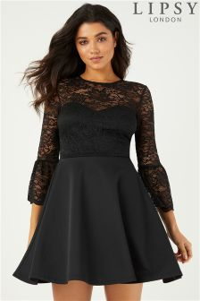 Lipsy Lace Top Flute Sleeve Skater Dress