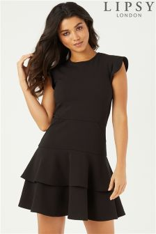 Lipsy Tiered Ruffle Fit And Flare Dress