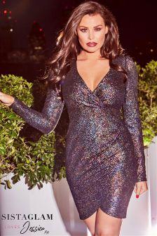 Jessica Wright Textured Glitter Wrap Dress