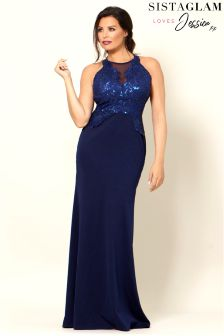 Jessica Wright Scallop Sequin Lace Halter Maxi Dress