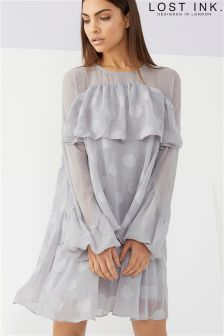 Lost Ink Ruffle Tiered Smock Dress