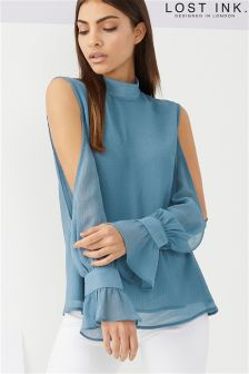 Lost Ink Cold Shoulder Blouse