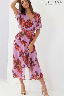 Asymetryczna sukienka Lost Ink z nadrukiem