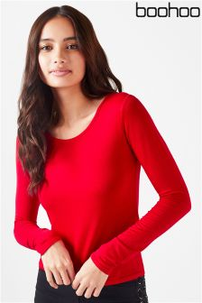 Boohoo Round Neck Long Sleeve Top