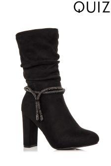 Quiz Diamante Trim Heel Boots
