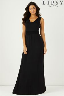 Lipsy V neck Shirred Maxi Dress