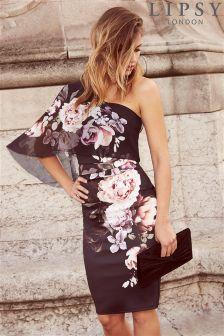 Lipsy Printed One Sholder Bodycon Dress