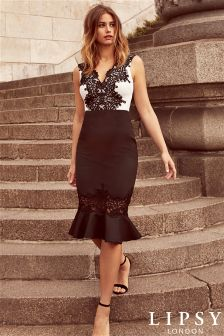 Lipsy V neck Lace Placement Bodycon Dress