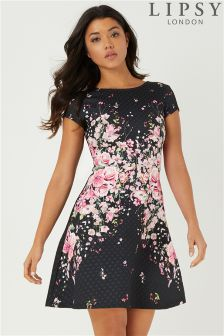 Lipsy Textured Print Skater Dress