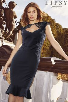 Lipsy Petite Side Sequin Lace Dress
