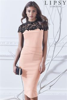 Lipsy Petite Lace Top Bodycon Dress