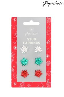 Paperchase Festive Gift Bow Stud Earrings