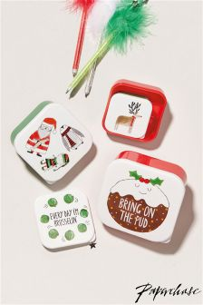 Paperchase Xmas 4 Pack Snack Boxes
