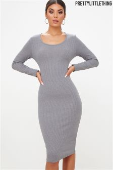 PrettyLittleThing Jersey Ribbed Bodycon Dress