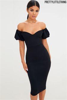 PrettyLittleThing Balloon Sleeve Bardot Midi Dress