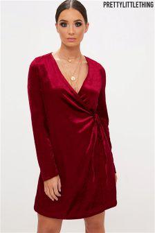 PrettyLittleThing Velvet Wrap Dress